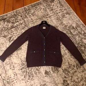 CHANEL Two Tone Purple Lion Head Button Cardigan